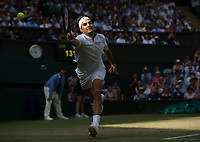 Roger Federer (3) of Switzerland in action during his victory against Milos Raonic (6) of Canada in their Men's Singles Quarter Final Match today - Federer def Raonic 6-4, 6-2, 7-6<br /> <br /> Photographer Ashley Western/CameraSport<br /> <br /> Wimbledon Lawn Tennis Championships - Day 9 - Wednesday 12th July 2017 -  All England Lawn Tennis and Croquet Club - Wimbledon - London - England<br /> <br /> World Copyright &not;&copy; 2017 CameraSport. All rights reserved. 43 Linden Ave. Countesthorpe. Leicester. England. LE8 5PG - Tel: +44 (0) 116 277 4147 - admin@camerasport.com - www.camerasport.com