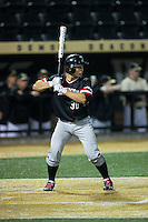 Zach Nussbaum (36) of the Davidson Wildcats at bat against the Wake Forest Demon Deacons at David F. Couch Ballpark on February 28, 2017 in Winston-Salem, North Carolina.  The Demon Deacons defeated the Wildcats 13-5.  (Brian Westerholt/Four Seam Images)