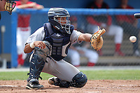 Mahoning Valley Scrappers catcher Diego Seastrunk during a game vs. the Batavia Muckdogs at Dwyer Stadium in Batavia, New York August 3, 2010.   Batavia defeated Mahoning Valley 8-1.  Photo By Mike Janes/Four Seam Images