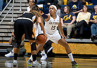 Brittany Boyd of California in defense mode during the game against Long Beach State at Haas Pavilion in Berkeley, California on November 8th, 2013.  California defeated Long Beach State, 70-51.