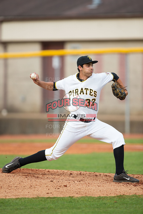 Bristol Pirates relief pitcher Luis Paula (32) in action against the Johnson City Cardinals at Boyce Cox Field on July 7, 2015 in Bristol, Virginia.  The Cardinals defeated the Pirates 4-1 in game one of a double-header. (Brian Westerholt/Four Seam Images)