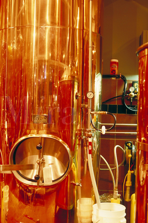 Copper equipment for beer making inside Brew Brothers Microbrewery in Silver Legacy complex, reno, Nevada. Reno Nevada.