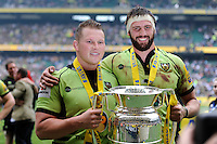 Dylan Hartley and Tom Wood of Northampton Saints celebrate winning the Aviva Premiership Rugby Final after extra time against Saracens at Twickenham Stadium on Saturday 31st May 2014 (Photo by Rob Munro)