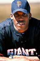 Bobby Bonds, jr. of the San Francisco Giants participates in a Major League Baseball Spring Training game during the 1998 season in Phoenix, Arizona. (Larry Goren/Four Seam Images)