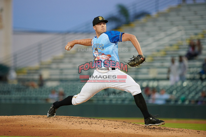 Bradenton Marauders relief pitcher Hunter Stratton (22) during a Florida State League game against the Jupiter Hammerheads on April 20, 2019 at LECOM Park in Bradenton, Florida.  Bradenton defeated Jupiter 3-2.  (Mike Janes/Four Seam Images)