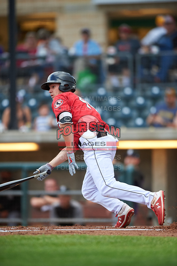 Billings Mustangs TJ Hopkins (40) starts running toward first base during a Pioneer League game against the Grand Junction Rockies at Dehler Park on August 14, 2019 in Billings, Montana. Grand Junction defeated Billings 8-5. (Zachary Lucy/Four Seam Images)