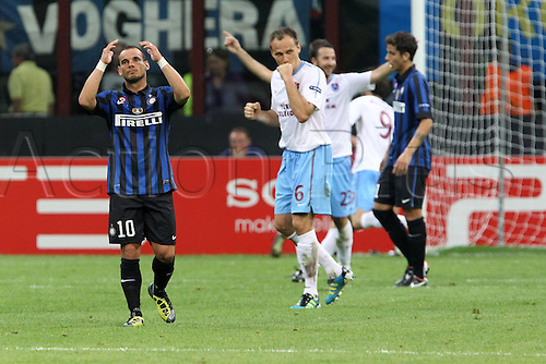 14.09.2011 UEFA Champions League from the San Siro Stadium. Inter Milan v Trabzonspor. Picture shows Wesley Snejider disillusioned after Trabzonspor score the winner