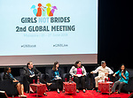 25 June, 2018, Kuala Lumpur, Malaysia : From left- Nankali Maksud (UNICEF), Quentin Wodon (World Bank), Leika Aruga (UN Women-Vietnam) Marcela Suazo (UNFPA- Malaysia), Venkatraman Chandra-Mouli (WHO -Switerland) and Lakshmi Sundaram ( GNB) during the panel discussion on Multilateral Organisations on the opening day at the Girls Not Brides Global Meeting 2018 at the Kuala Lumpur Convention Centre. Picture by Graham Crouch/Girls Not Brides