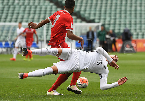 12.11.2016. Auckland, New Zealand.  Monty Patterson goes down in the tackle of Emile Bearune. New Zealand All Whites versus New Caledonia. Oceania Football Confederation stage 3 qualifier match for the FIFA World Cup in Russia 2018. QBE Stadium, Auckland, New Zealand.