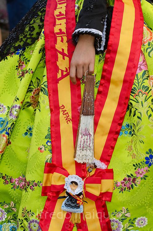 Fogueres beauties dress detail at Hogueras de San Juan, Fogueres de Sant Joan festival. Alicante City, Costa Blanca, Spain, Europe