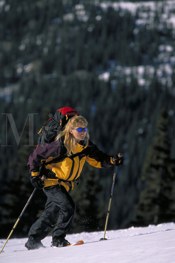 Winter, Vacation, Sports, Active Lifestyle, Adventure, Snowshoeing, Wilderness, Woman, Happiness, Exercise, Fitness, Training, Backpacking, Challenge, Mountaineering, Snowshoes. Asa Armstrong (MR 648). Backcountry Colorado United States Rocky Mountains, S