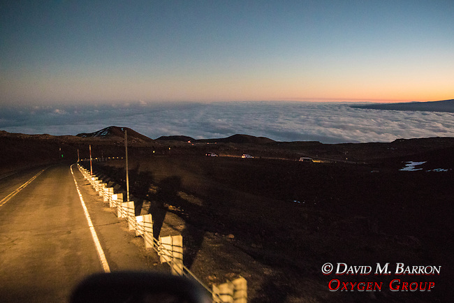 Driving Down From  Mauna Kea Summit At Dusk