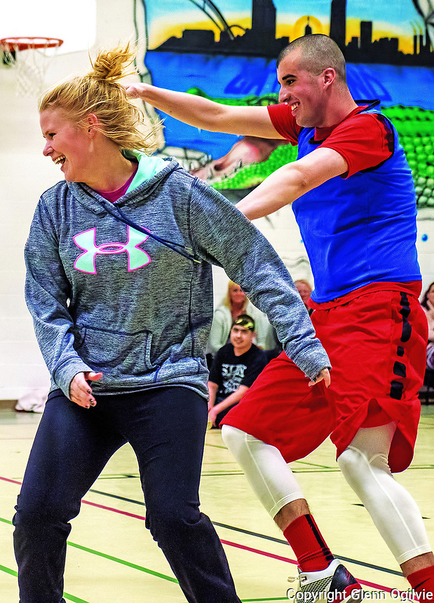 Emily Powell (Coach), Lucas Canini (athlete) playing dodge ball