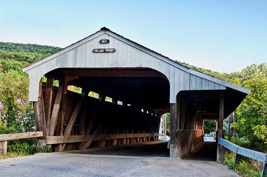 The Village Bridge, a covered bridge built in 1833 and located on Bridge Street in Waitsfield, Vermont