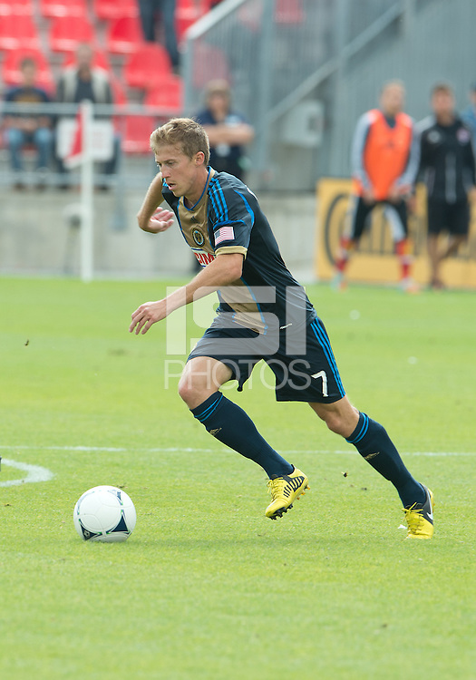 15 September 2012: Philadelphia Union midfielder Brian Carroll #7 in action during an MLS game between the Philadelphia Union and Toronto FC at BMO Field in Toronto, Ontario..The game ended in a 1-1 draw..