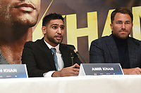 Amir Khan speaks during a Press Conference at the Dorchester Hotel on 10th January 2018