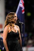 NZ national anthem singer Rebecca Nelson during the Rugby Championship match between the NZ All Blacks and Argentina Pumas at Yarrow Stadium in New Plymouth, New Zealand on Saturday, 9 September 2017. Photo: Dave Lintott / lintottphoto.co.nz