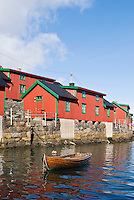 Red Rorbu cabins along water front in Stamsund, Lofoten islands, Norway
