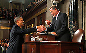 Speaker of the United States House of Representatives John Boehner (Republican of Ohio) shakes hands with U.S. President Barack Obama following the President's address to a joint session of the United States Congress on the subject of job creation on Capitol Hill in Washington, September 8, 2011.    .Credit: Kevin Lamarque / Pool via CNP.
