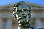 A statue of Abraham Lincoln outside San Francisco City Hall, California.