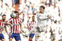 1st February 2020; Estadio Santiago Bernabeu, Madrid, Spain; La Liga Football, Real Madrid versus Atletico de Madrid; Sergio Ramos gets his shot towards goal