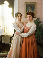 NWA Democrat-Gazette/BEN GOFF @NWABENGOFF<br /> Oryah Rudick (left), in costume as Katherine Peel, and Sarah Goble, in costume as Mary Emaline Berry Peel, both Arkansas Arts Academy students, pose for a photo Friday, March 2, 2018, for a project at the Peel Mansion Museum and Heritage Gardens in Bentonville. High school students from the school's audio visual class and theater program are collaborating to produce a 15 minute short film about the Peel Mansion as an entry for the Arkansas Educational Television Network's Student Selects competition for young filmmakers. The film includes interviews with people involved in the museum as well as vignettes of moments in the 1875 home's history with theater students portraying historical figures.