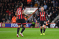 Ryan Fraser of AFC Bournemouth right celebrates with Callum Wilson of AFC Bournemouth; during AFC Bournemouth vs Huddersfield Town, Premier League Football at the Vitality Stadium on 4th December 2018
