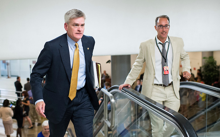 UNITED STATES - JULY 21: Sen. Bill Cassidy, R-La., heads to the Senate Republicans' policy lunch from the Senate subway on Tuesday, July 21, 2015. (Photo By Bill Clark/CQ Roll Call)