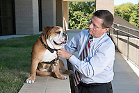 College of Veterinary Medicine dean, Dr. Kent Hoblet with Jak.