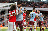 Tyrone Mings of Aston Villa and Mattéo Guendouzi of Arsenal during the Premier League match between Arsenal and Aston Villa at the Emirates Stadium, London, England on 22 September 2019. Photo by Carlton Myrie / PRiME Media Images.
