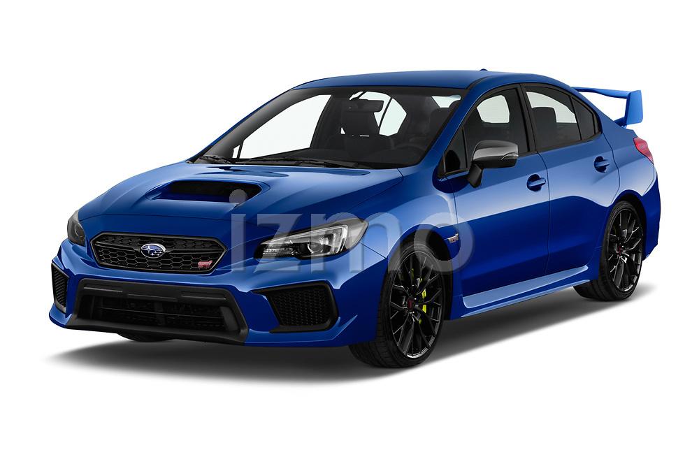 2018 Subaru WRX STI Sport Premium 4 Door Sedan angular front stock photos of front three quarter view
