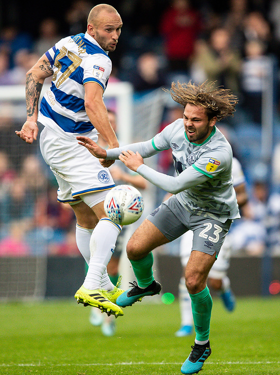 Blackburn Rovers' Bradley Dack competing with Queens Park Rangers' Toni Leistner (left) <br /> <br /> Photographer Andrew Kearns/CameraSport<br /> <br /> The EFL Sky Bet Championship - Queens Park Rangers v Blackburn Rovers - Saturday 5th October 2019 - Loftus Road - London<br /> <br /> World Copyright © 2019 CameraSport. All rights reserved. 43 Linden Ave. Countesthorpe. Leicester. England. LE8 5PG - Tel: +44 (0) 116 277 4147 - admin@camerasport.com - www.camerasport.com