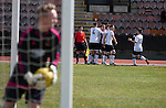 Edinburgh City 1 Cove Rangers 1, 30/04/2016. Commonwealth Stadium, Scottish League Pyramid Play Off. Home captain Dougie Gair celebrating opening the scoring in the Scottish pyramid play-off second leg between Edinburgh City (in white) and Cove Rangers at the Commonwealth Stadium at Meadowbank in Edinburgh. The match between the champions of the Lowland and Highland Leagues determined which club would play-off against East Stirlingshire for a place in the Scottish league. The second leg ended 1-1, giving Edinburgh City a 4-1 aggregate win. Photo by Colin McPherson.