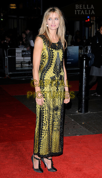 "NATASHA McELHONE.The ""Up In The Air"" gala screening, London Film Festival Day 5, Vue West End Cinema, London, England..October 18th, 2009.LFF full length black yellow sleeveless pattern print dress.CAP/CAN.©Can Nguyen/Capital Pictures."