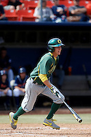 Connor Hofmann #1 of the Oregon Ducks bats against the Cal State Fullerton Titans at Goodwin Field on March 3, 2013 in Fullerton, California. (Larry Goren/Four Seam Images)