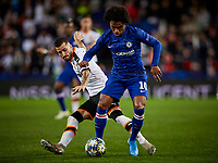 27th November 2019; Mestalla, Valencia, Spain; UEFA Champions League Footballl,Valencia versus Chelsea; Willian of Chelsea is challenged by Jose Gaya of Valencia CF - Editorial Use