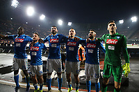 Kalidou Koulibaly , Dries Mertens , Raul Albiol , Marek Hamsik , Elseid Hysaj of Napoli and Alex Meret of Napoli celebrate at the end of the Serie A 2018/2019 football match between SSC Napoli  and Spal at stadio San Paolo, Napoli, December 22, 2018 <br />  Foto Cesare Purini / Insidefoto