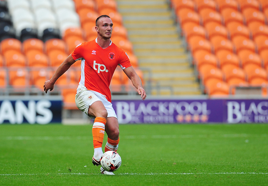 Blackpool's Tom Aldred<br /> <br /> Photographer Kevin Barnes/CameraSport<br /> <br /> Football - The EFL Sky Bet League Two - Blackpool v Exeter City - Saturday 6th August 2016 - Bloomfield Road - Blackpool<br /> <br /> World Copyright &copy; 2016 CameraSport. All rights reserved. 43 Linden Ave. Countesthorpe. Leicester. England. LE8 5PG - Tel: +44 (0) 116 277 4147 - admin@camerasport.com - www.camerasport.com