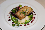 Upper East Side, Carlyle Restaurant, New York, New York.Roasted Black Cod with Cauliflower Cream, Ragout of Baby Beets and Turnips and Asparagus Coulis, prepared by Executive Chef Jimmy Sakatos