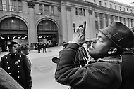 24 Mar 1970 --- A New York City postal worker makes a gesture during an eight-day strike involving 30 major U.S. cities. --- Image by © JP Laffont