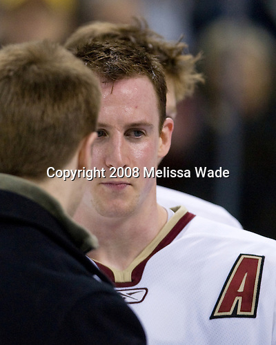 (Bradford) Matt Greene (BC 14) - The Boston College Eagles defeated the Harvard University Crimson 6-5 in overtime on Monday, February 11, 2008, to win the 2008 Beanpot at the TD Banknorth Garden in Boston, Massachusetts.