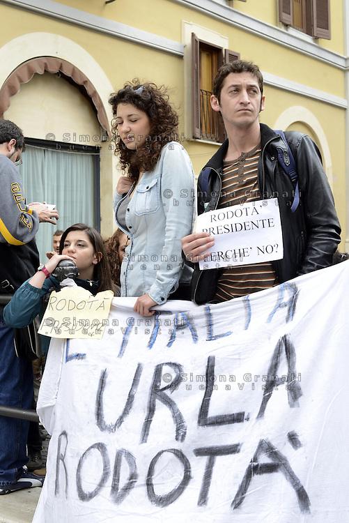 Roma. 20 Aprile 2013.Piazza Montecitorio.Proteste contro la rielezione di Giorgio Napolitano a Presidente della Repubblica.Nella foto Roberta Lombardi M5S