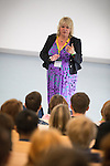 © Joel Goodman - 07973 332324 . 19 June 2013 . Ashton Sixth Form College , Darnton Road , Ashton . SYLVIA LANCASTER (correct - 01706 559143) , the mother of Sophie Lancaster , talks to students at Ashton 6th Form College about her daughter's life and death , today (Wednesday 19th June) . Sophie was beaten to death in Bacup , Lancashire , in 2007 , by five teenaged boys , because she was a goth . Photo credit : Joel Goodman