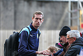 2nd February 2019, Turf Moor, Burnley, England; EPL Premier League football, Burnley versus Southampton; Peter Crouch of Burnley signs his autograph as he arrives at Turf Moor