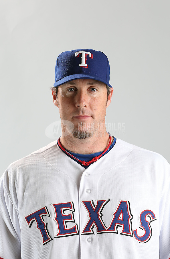Feb. 20, 2013; Surprise, AZ, USA: Texas Rangers pitcher Joe Nathan poses for a portrait during photo day at Surprise Stadium. Mandatory Credit: Mark J. Rebilas-