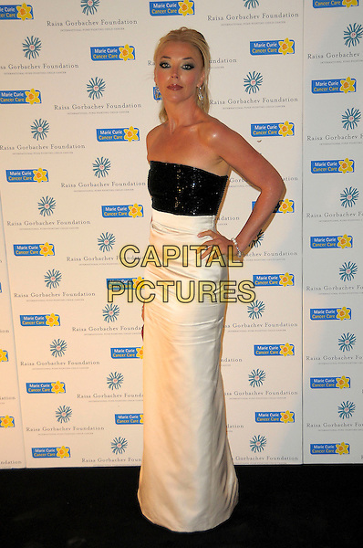 TAMARA BECKWITH.Raisa Gorbachev Foundation Gala Dinner at Stud House, Hampton Court, London, England..June 6th, 2009.full length black dress strapless white long maxi hand on hip.CAP/CAS.©Bob Cass/Capital Pictures.