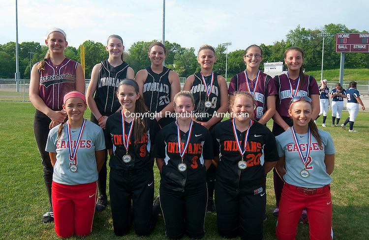 NAUGTAUCK, CT--052615JS24-  Members of the All-Iron Team front row, from left, Marissa Morales-Wolcott; and Taylor Mancinone-Watertown; Kailyn Biello-Watertown; Ali Butwill-Watertown and Rene Miller-Wolcott. Back row, from left, Brittany Anderson-Torrington, Emily Brouillette-WoodlandSamantha Buzgo-Woodland; Cameron Caswell-Woodland; Jackie Aronin-Naugatuck and Sandra Dinis-Naugatuck. <br />  Jim Shannon Republican-American