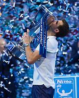 Grigor Dimitrov (BUL) kisses the ATP World Tour Trophy after defeating David Goffin (BEL), Nitto ATP World Tour Singles Final, O2 Arena, London United Kingdom, 19th November 2017