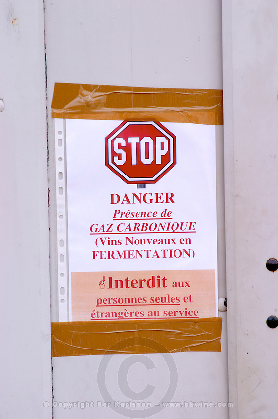 warning sign carbon dioxide in cellar chateau de rully burgundy france