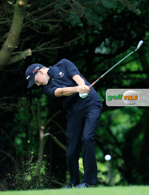 Oliver Clarke (England) on the 2nd tee during Round 3 of the Irish Boys Amateur Open Championship at Tuam Golf Club on Thursday 25th June 2015.<br /> Picture:  Thos Caffrey / www.golffile.ie